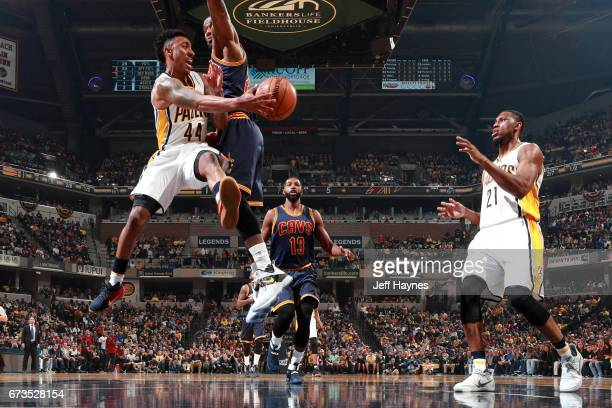 Jeff Teague of the Indiana Pacers passes the ball against the Cleveland Cavaliers during Game Four of the Eastern Conference Quarterfinals of the...