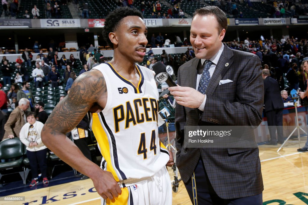 Jeff Teague #44 of the Indiana Pacers talks with the media after the game against the Utah Jazz on March 20, 2017 at Bankers Life Fieldhouse in Indianapolis, Indiana.