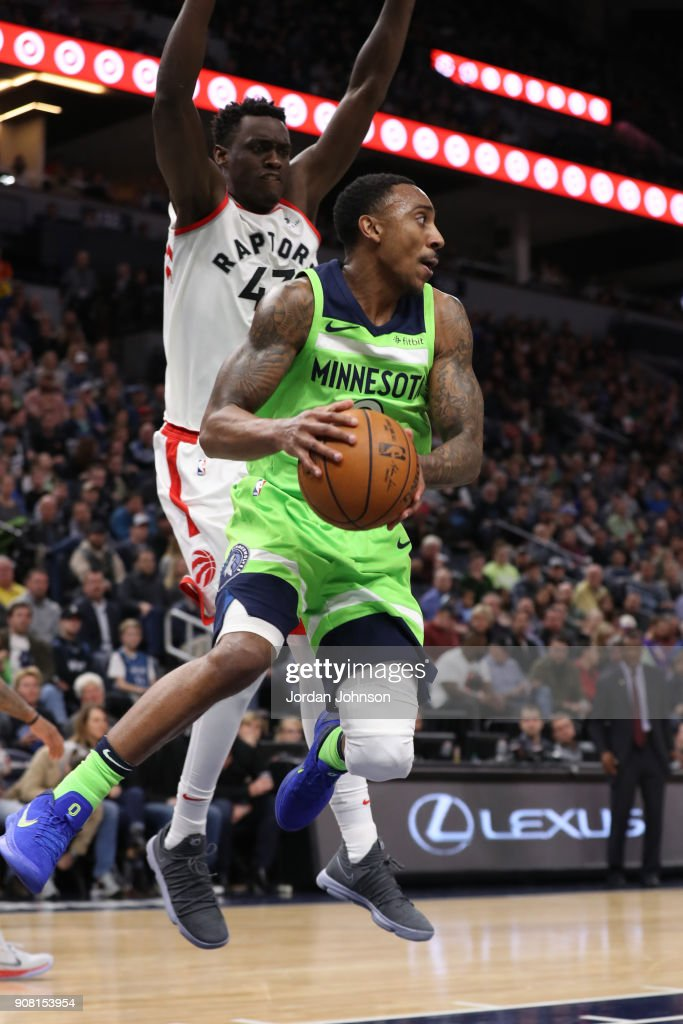 Jeff Teague #0 of the Minnesota Timberwolves handles the ball against the Toronto Raptors on January 20, 2018 at Target Center in Minneapolis, Minnesota.