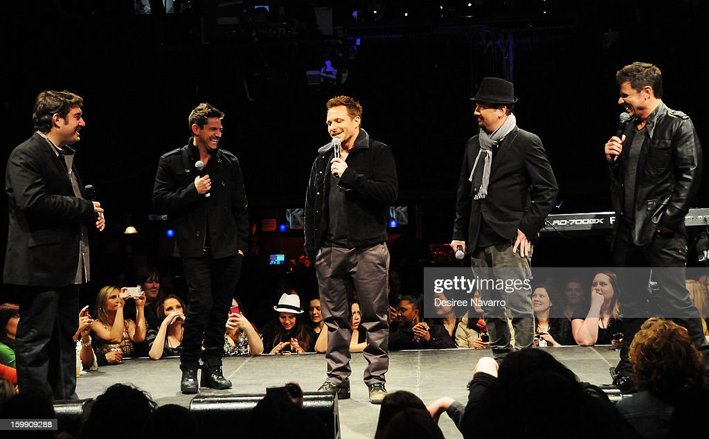 Jeff Timmons, Drew Lachey, Justin Jeffre and Nick Lachey of 98 Degrees attend the New Kids On The Block Special Announcement at Irving Plaza on January 22, 2013 in New York City.