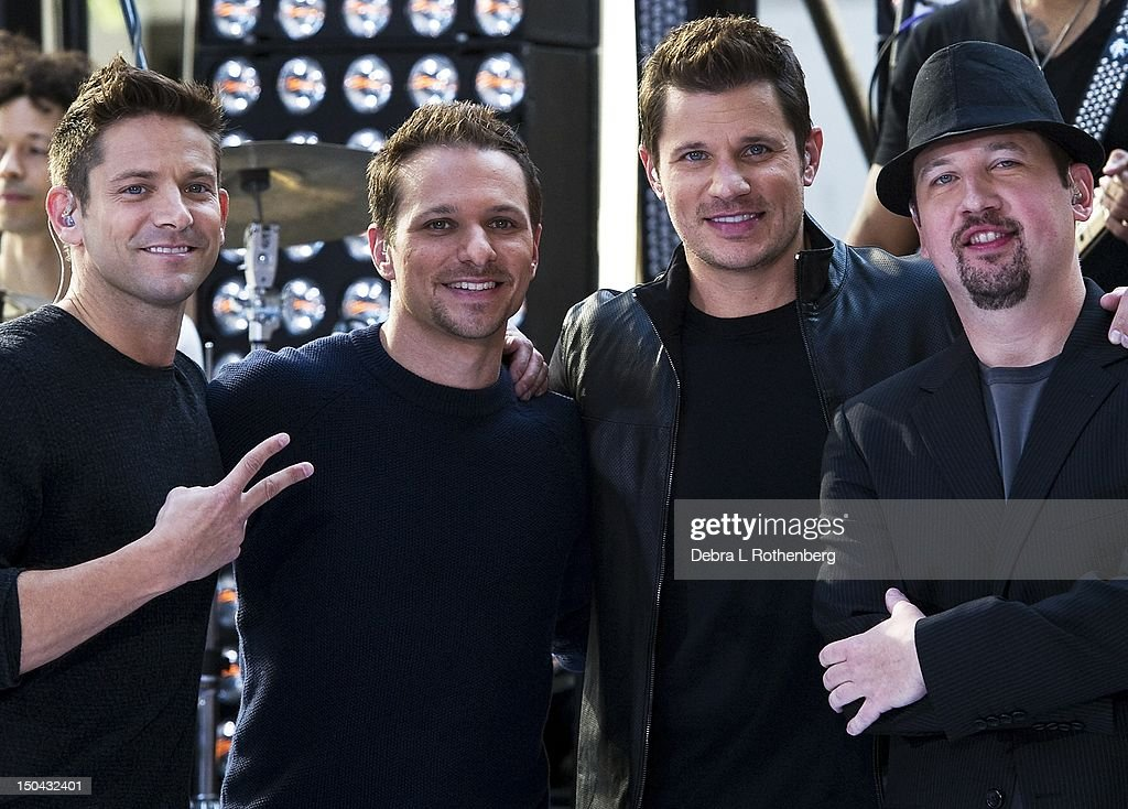 Jeff TimmonsDrew Lachey Nick Lachey and Justin Jeffre of 98 Degrees perform on NBC's 'Today' at Rockefeller Plaza on August 17 2012 in New York City