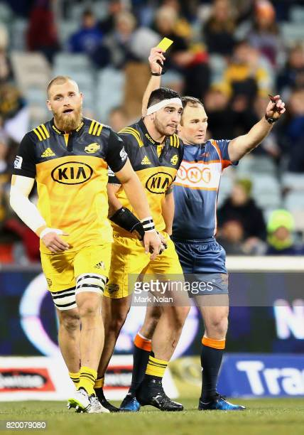 Jeff To'omagaAllen of the Hurricanes is given a yellow card during the Super Rugby Quarter Final match between the Brumbies and the Hurricanes at...
