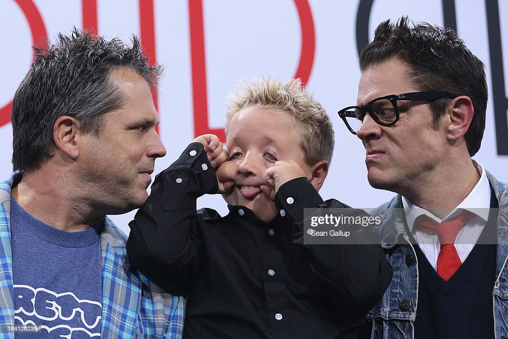 Jeff Tremaine Jackson Nicoll and Johnny Knoxville attend the 'Jackass Bad Grandpa' Germany Premiere at Kino in der Kulturbrauerei on October 11 2013...