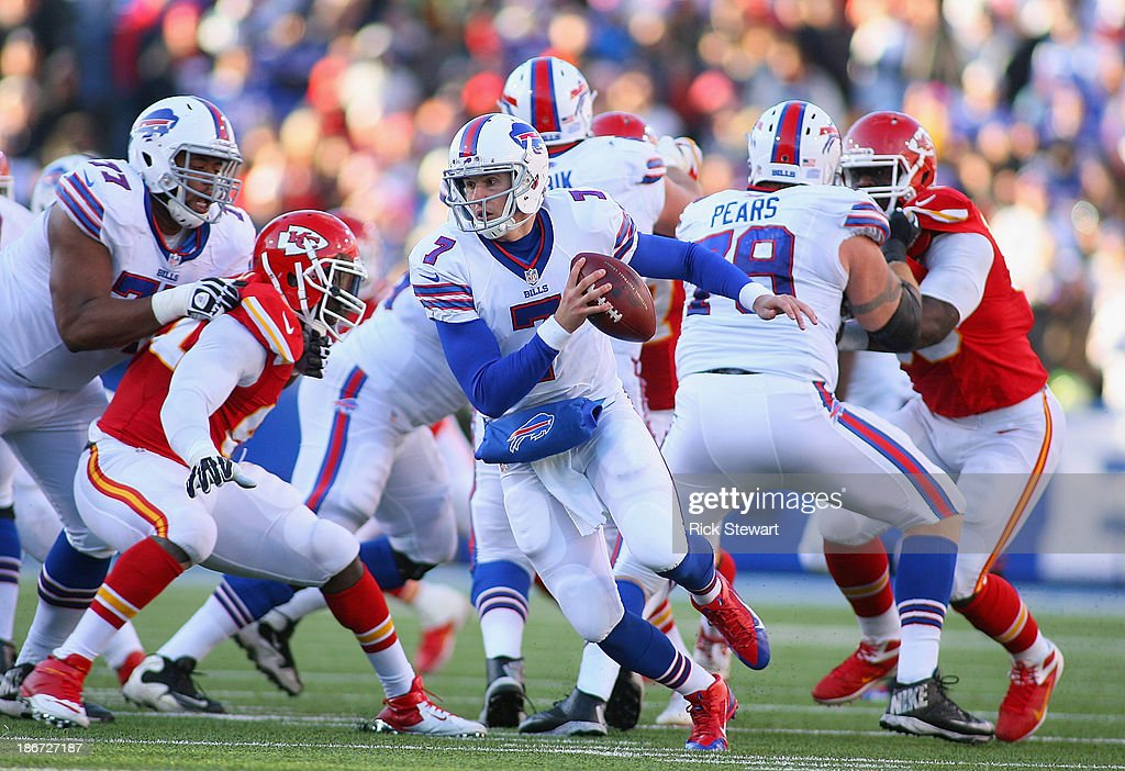 Jeff Tuel #7 of the Buffalo Bills moves out of the pocket against the Kansas City Chiefs at Ralph Wilson Stadium on November 3, 2013 in Orchard Park, New York. Kansas City won 23-13.