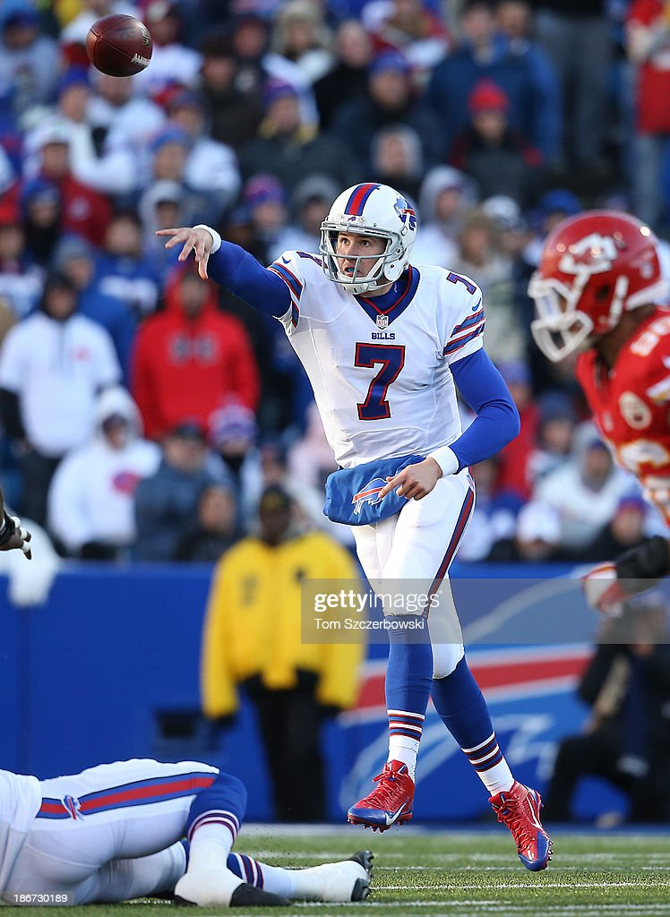 Jeff Tuel #7 of the Buffalo Bills throws a pass during NFL game action against the Kansas City Chiefs at Ralph Wilson Stadium on November 3, 2013 in Orchard Park, New York.