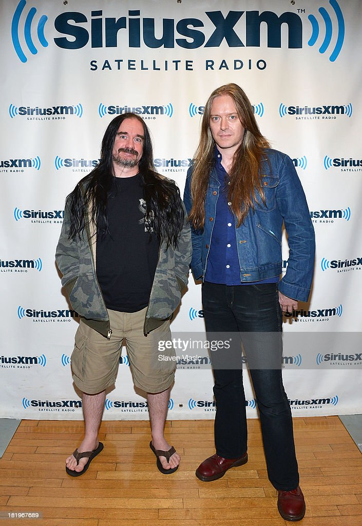 Jeff Walker (L) and Bill Steer of Carcass visit SiriusXM Studios on September 26, 2013 in New York City.