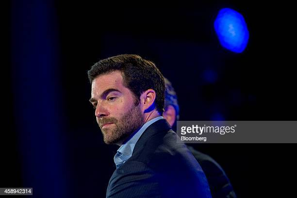 Jeff Weiner chief executive officer of LinkedIn Corp listens during a panel discussion at the Bloomberg Year Ahead 2015 conference in Washington DC...