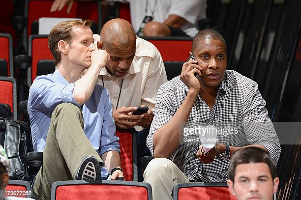 Jeff Weltman and Masai Ujiri watch the NBA Summer League game between the Chicago Bullsand the Portland Trail Blazers on July 16 2013 at the Cox...