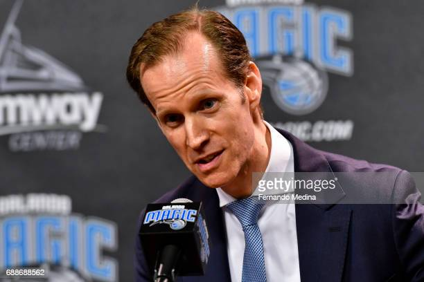 Jeff Weltman is introduced as President of Basketball Operations during a press conference on May 24 2017 at Amway Center in Orlando Florida NOTE TO...