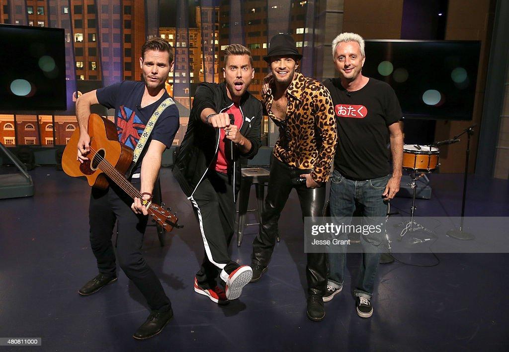 Jeff Wild, Lance Bass, Josh Wolf and Adam Hamilton attend 'The Josh Wolf Show' on July 15, 2015 in Los Angeles, California.