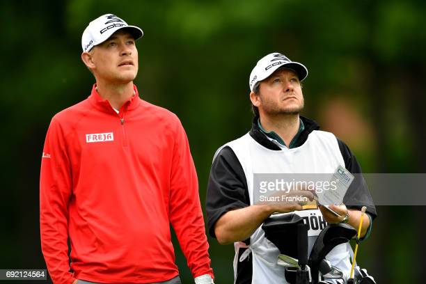 Jeff Winther of Denmark and his caddie look on during day four of the Nordea Masters at Barseback Golf Country Club on June 4 2017 in Barsebackshamn...