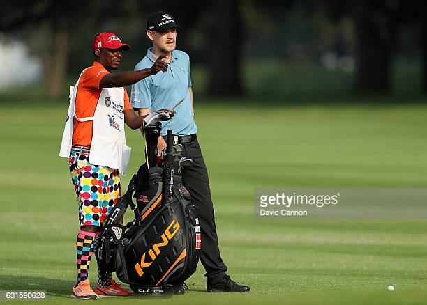 Jeff Winther of Denmark and his caddy during day two of The BMW South African Open Championship at Glendower Golf Club on January 13 2017 in...