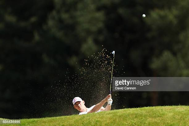 Jeff Winther of Denmark hits his 2nd shot on the 9th hole during day one of the BMW PGA Championship at Wentworth on May 26 2016 in Virginia Water...
