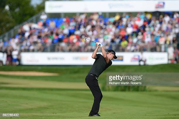 Jeff Winther of Denmark hits his second shot on the 18th hole during the third round of the DD REAL Czech Masters at Albatross Golf Resort on August...