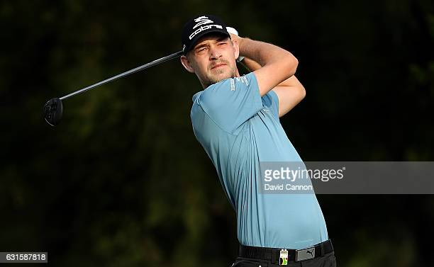 Jeff Winther of Denmark hits his tee shot on the 1st hole during day two of The BMW South African Open Championship at Glendower Golf Club on January...