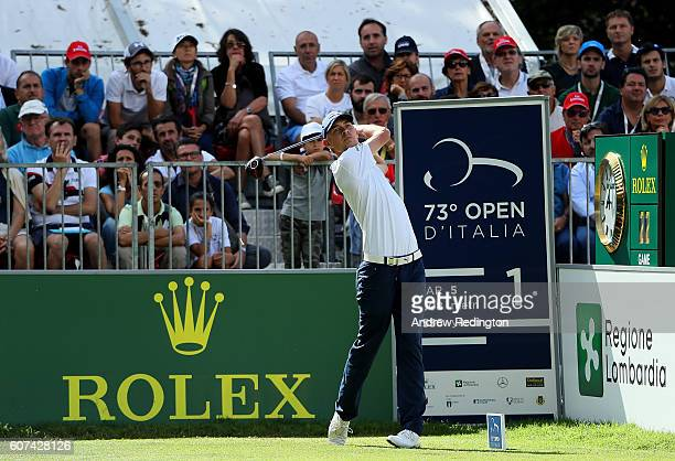 Jeff Winther of Denmark hits his tee shot on the 1st hole during the fourth round of the Italian Open at Golf Club Milano Parco Reale di Monza on...