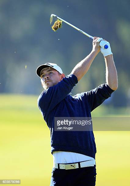 Jeff Winther of Denmark in action during the fifth round of the European Tour qualifying school final stage at PGA Catalunya Resort on November 16...
