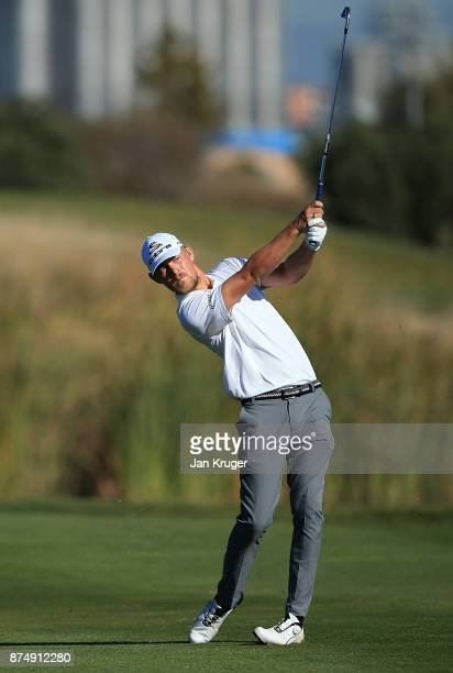 Jeff Winther of Denmark in action during the final round of the European Tour Qualifying School Final Stage at Lumine Golf Club on November 16 2017...