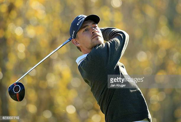 Jeff Winther of Denmark in action during the fourth round of the European Tour qualifying school final stage at PGA Catalunya Resort on November 15...