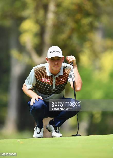 Jeff Winther of Denmark lines up a putt during the first round on day one of the Trophee Hassan II at Royal Golf Dar Es Salam on April 13 2017 in...