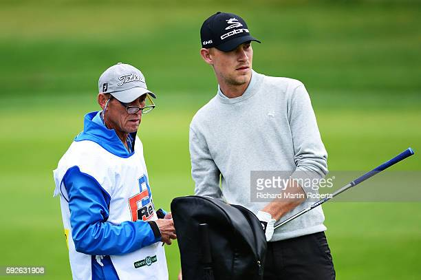 Jeff Winther of Denmark looks down the 1st hole with his caddie during day four of the DD REAL Czech Masters at Albatross Golf Resort on August 21...