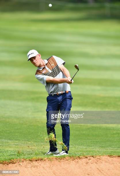 Jeff Winther of Denmark plays an approach during the first round on day one of the Trophee Hassan II at Royal Golf Dar Es Salam on April 13 2017 in...
