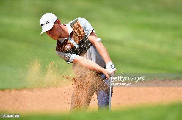 Jeff Winther of Denmark plays from a bunker during the first round on day one of the Trophee Hassan II at Royal Golf Dar Es Salam on April 13 2017 in...