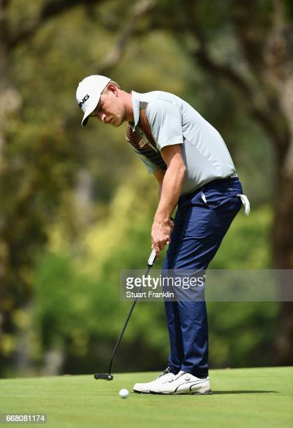 Jeff Winther of Denmark putts during the first round on day one of the Trophee Hassan II at Royal Golf Dar Es Salam on April 13 2017 in Rabat Morocco