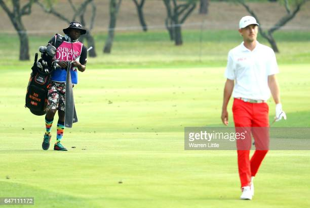 Jeff Winther of Denmark R0 and his caddie walk up the 2nd hole during Day One of The Tshwane Open at Pretoria Country Club on March 2 2017 in...