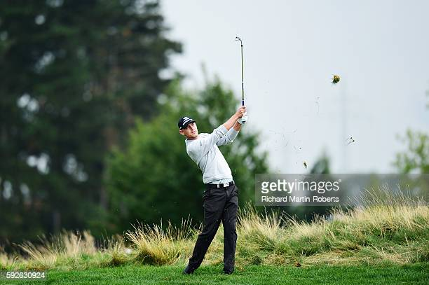 Jeff Winther of Denmark takes his second shot on the 1st hole during day four of the DD REAL Czech Masters at Albatross Golf Resort on August 21 2016...