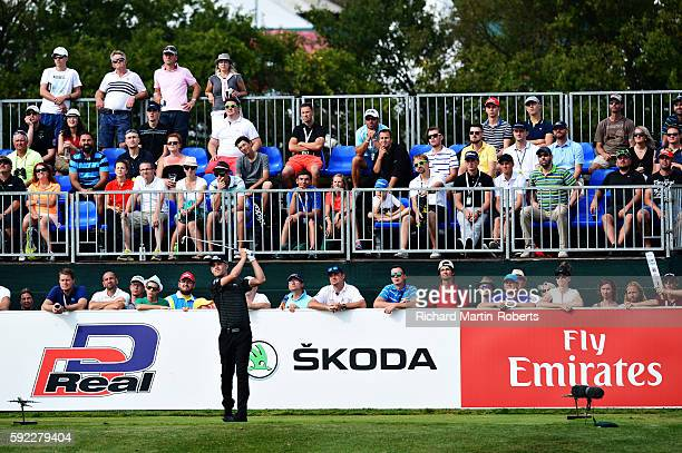 Jeff Winther of Denmark tees off on the 16th hole during day three of the DD REAL Czech Masters at Albatross Golf Resort at Albatross Golf Resort on...