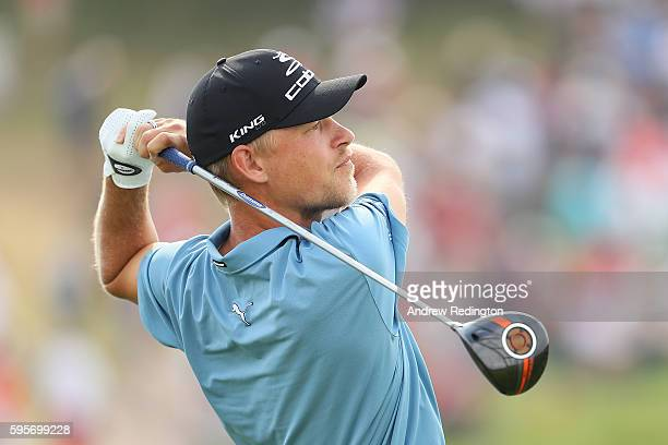 Jeff Winther of Denmark tees off on the 4th hole during the second round of Made in Denmark at Himmerland Golf Spa Resort on August 26 2016 in...