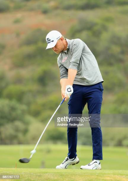 Jeff Winther of Denmark tees off on the 9th hole during day two of the Open de Portugal at Morgado Golf Resort on May 12 2017 in Portimao Portugal