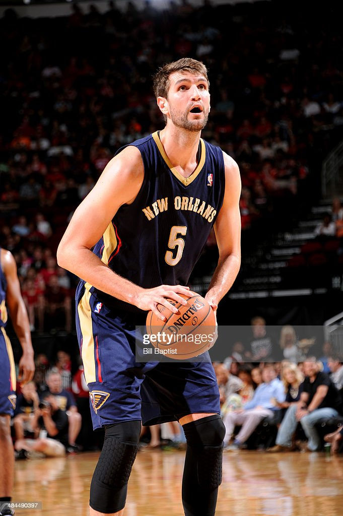 <a gi-track='captionPersonalityLinkClicked' href=/galleries/search?phrase=Jeff+Withey&family=editorial&specificpeople=6669172 ng-click='$event.stopPropagation()'>Jeff Withey</a> #5 of the New Orleans Pelicans attempts a free throw against the Houston Rockets on April 12, 2014 at the Toyota Center in Houston, Texas.