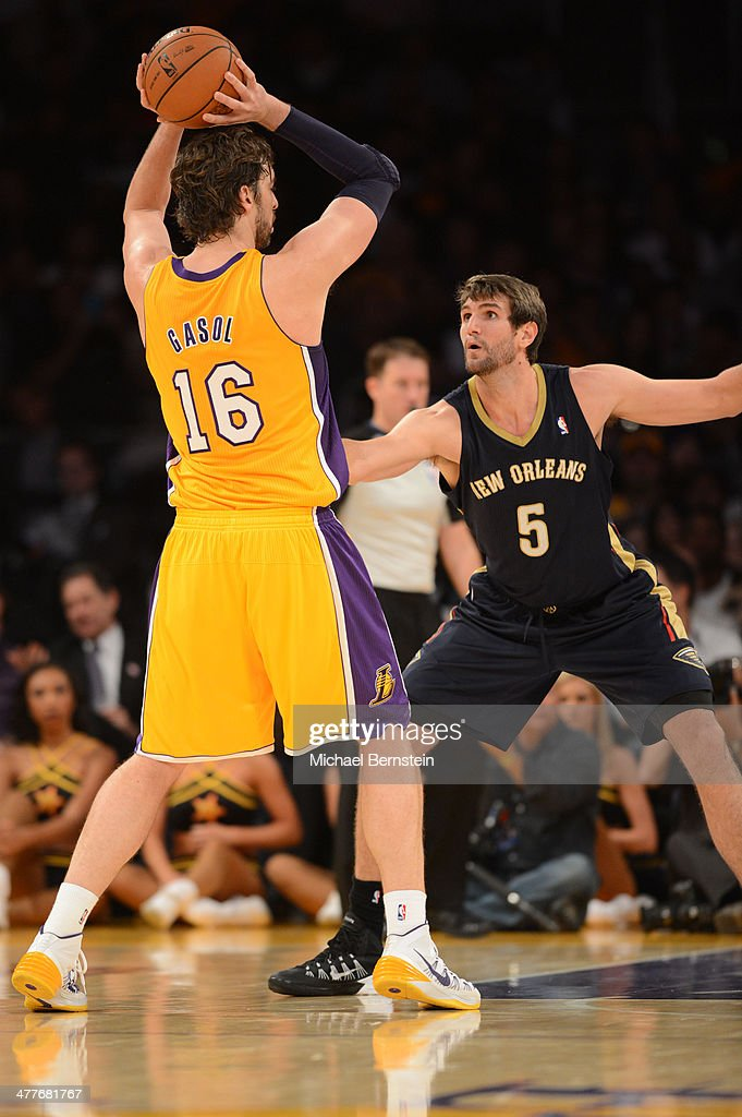 Jeff Withey #5 of the New Orleans Pelicans defends Pau Gasol #16 of the Los Angeles Lakers at Staples Center on November 12, 2013 in Los Angeles, California.