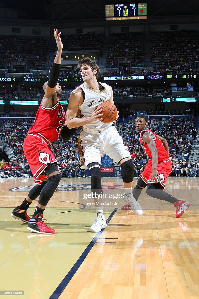 <a gi-track='captionPersonalityLinkClicked' href=/galleries/search?phrase=Jeff+Withey&family=editorial&specificpeople=6669172 ng-click='$event.stopPropagation()'>Jeff Withey</a> #5 of the New Orleans Pelicans drives to the basket against the Chicago Bulls on February 1, 2014 at the New Orleans Arena in New Orleans, Louisiana.