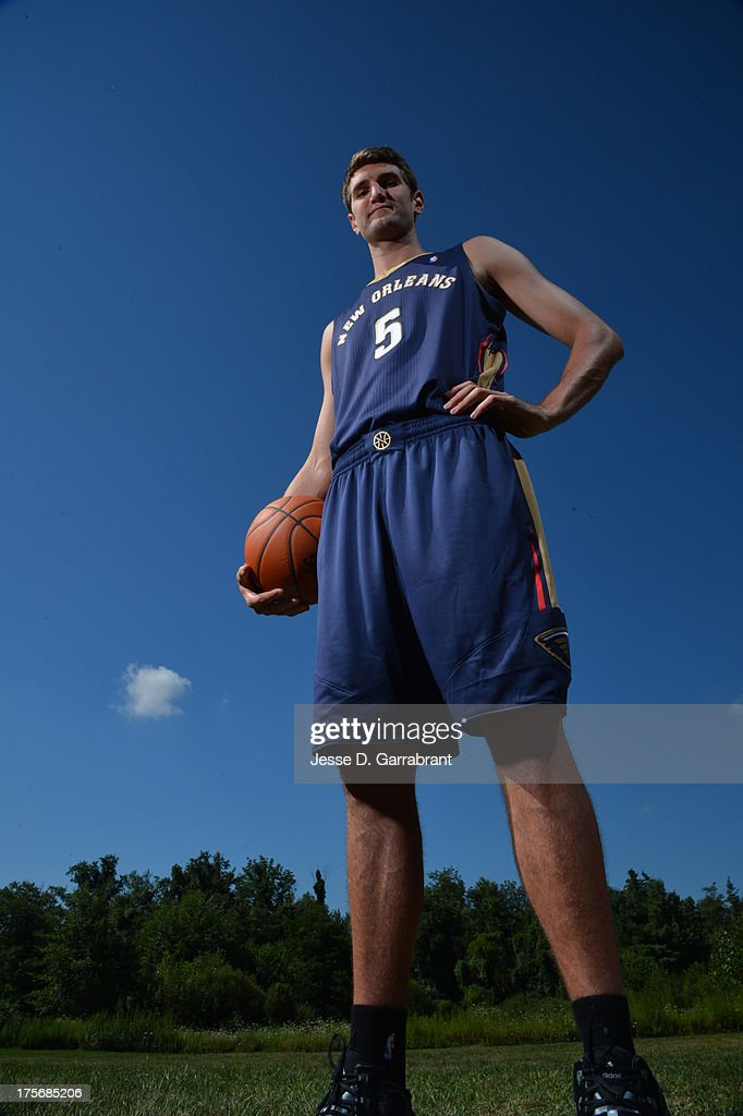 Jeff Withey of the New Orleans Pelicans poses for a portrait during the 2013 NBA Rookie Photo Shoot on August 6, 2013 at the MSG Training Facility in Tarrytown, New York.