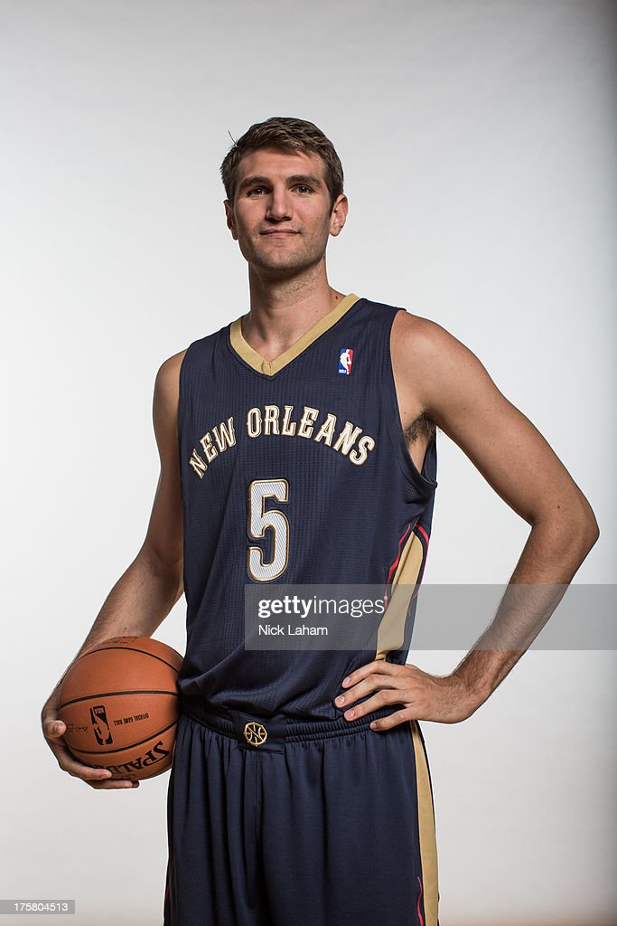 Jeff Withey #5 of the New Orleans Pelicans poses for a portrait during the 2013 NBA rookie photo shoot at the MSG Training Center on August 6, 2013 in Greenburgh, New York.