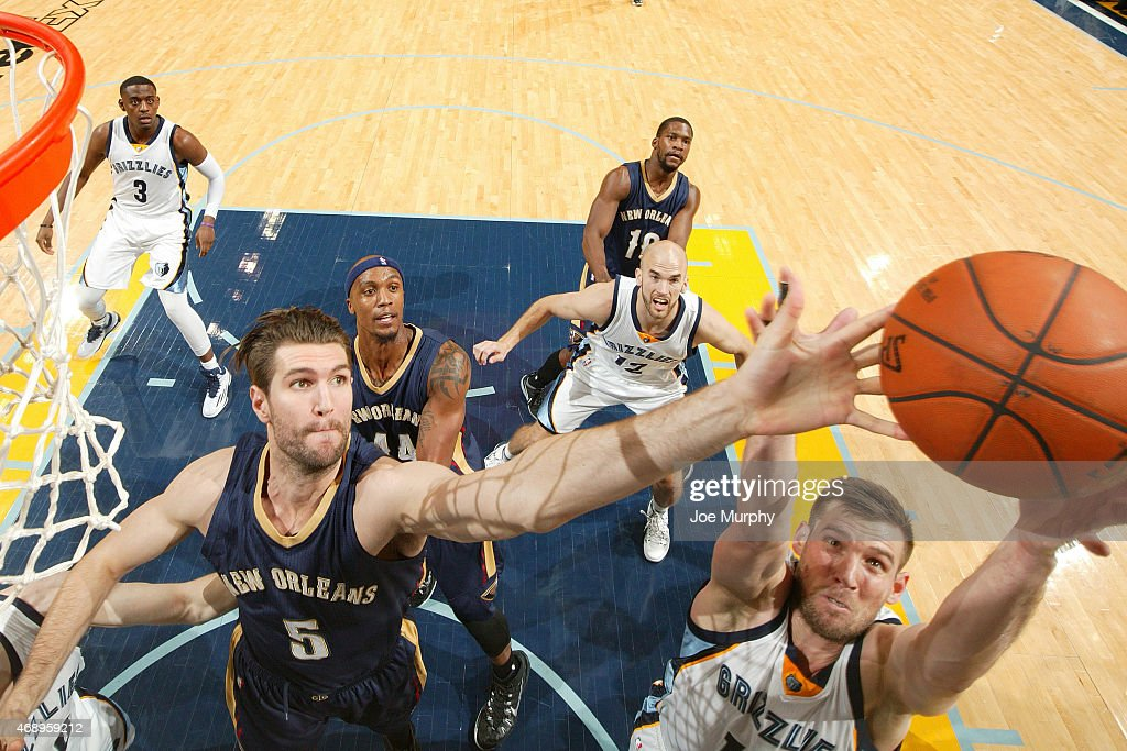 <a gi-track='captionPersonalityLinkClicked' href=/galleries/search?phrase=Jeff+Withey&family=editorial&specificpeople=6669172 ng-click='$event.stopPropagation()'>Jeff Withey</a> #5 of the New Orleans Pelicans reaches for the ball against the Memphis Grizzlies during the game on April 8, 2015 at FedExForum in Memphis, Tennessee.