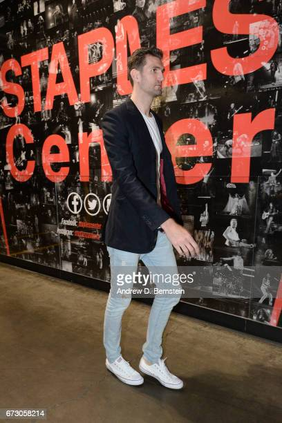Jeff Withey of the Utah Jazz arrives before the game against the LA Clippers in Game Five of the Western Conference Quarterfinals of the 2017 NBA...