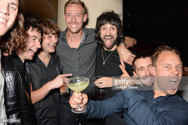 Jeff Wootton Jay Sharrock Peter Crouch Sergio Pizzorno Miles Kane and Stephen Graham attend the Soho House event to celebrate Kasabian's performance...