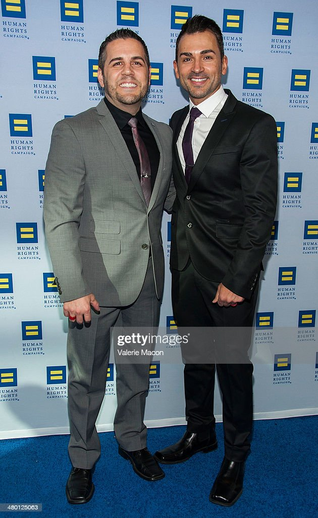 Jeff Zarrillo (L) and Paul Katami arrive at the Human Rights Campaign Los Angeles Gala Dinner at JW Marriott Los Angeles at L.A. LIVE on March 22, 2014 in Los Angeles, California.