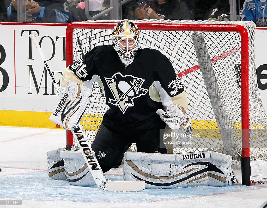 Jeff Zatkoff #36 of the Pittsburgh Penguins warms up against the Winnipeg Jets on March 28, 2013 at Consol Energy Center in Pittsburgh, Pennsylvania.