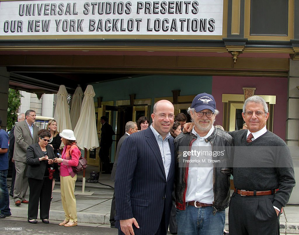 Jeff Zucker, President/CEO of NBC Universal, director Steven Spielberg and Ron Meyer, President/COO of Universal Studios, attend the reopening of Universal Studios' back lot on May 27, 2010 in Universal City, California.