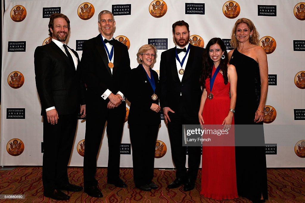 Jefferson Awards Foundation National honorees (middle four) Former U.S. Secretary of Education <a gi-track='captionPersonalityLinkClicked' href=/galleries/search?phrase=Arne+Duncan&family=editorial&specificpeople=3049193 ng-click='$event.stopPropagation()'>Arne Duncan</a>, Kyle Zimmer, Sean Parker and Sophia Sanchez-Maes are flanked by Chairman, Board of Directors of the Jefferson Awards Foundation, Joe Sanberg (L) and Executive Director of the Jefferson Awards Foundation, Hillary Schafer (R) at the Jefferson Awards Foundation 2016 National Ceremony on June 16, 2016 in Washington City.