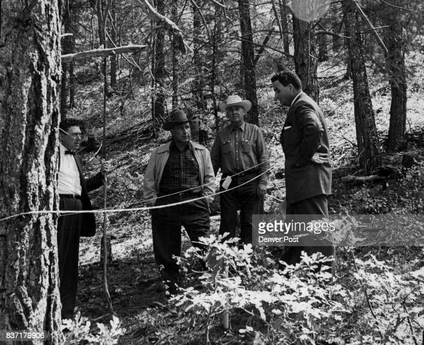 Jefferson Douglas County Officials Review Coors Data Law officials of Jefferson and Douglas counties inspect area in forest near Sedalia where...
