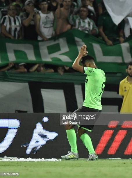 Jefferson Duque of Deportivo Cali celebrates after scoring the first goal of his team during the Final second leg match between Atletico Nacional and...
