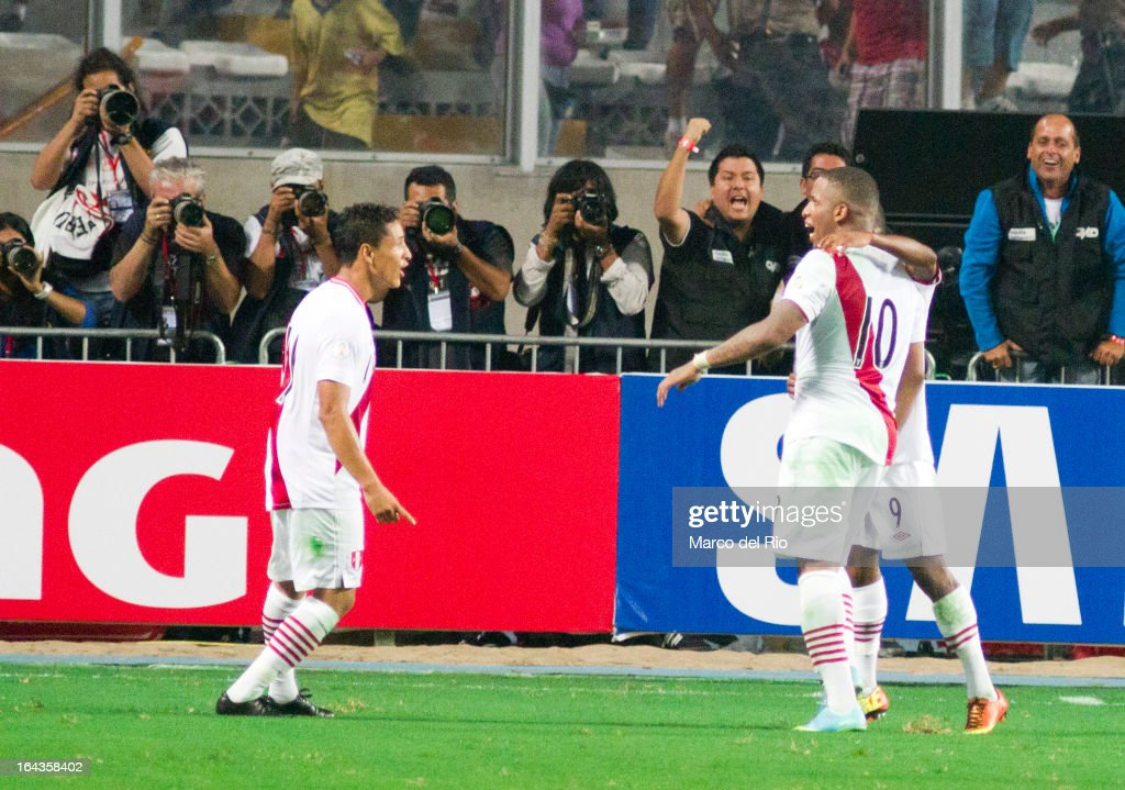 Jefferson Farfan celebrates a goal against Chile during a match between Peru and Chile as part of the 11th round of the South American Qualifiers for...