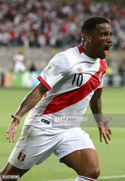Jefferson Farfan of Peru celebrates after scoring the first goal of his team during a second leg match between Peru and New Zealand as part of the...