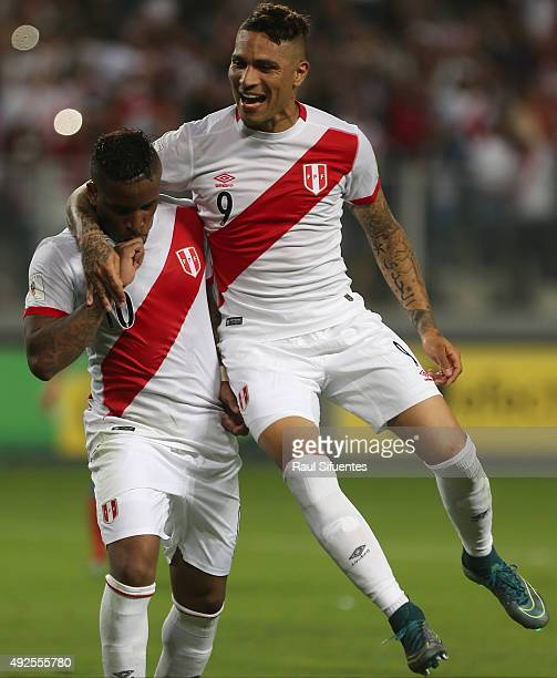 Jefferson Farfan of Peru celebrates after scoring the second goal of his team against Chile during a match between Peru and Chile as part of FIFA...